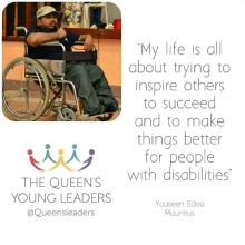 Introducing one of our #QueensYoungLeaders - disability rights advocate Yaaseen Edoo
