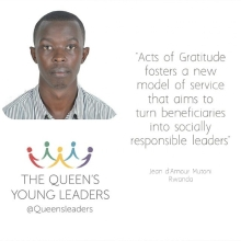 Introducing Jean d'Amour one of our #QueensYoungLeaders and founder of @actsofgratitude