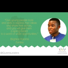 Introducing Brighton Kaoma one of our #QueensYoungLeaders and co-founder of the Agents Of Change Foundation Zambia