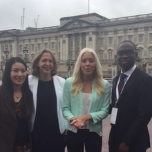 Here's just four of our #QueensYoungLeaders outside Buckingham Palace talking about what lays ahead of them and the other 56 leaders for rest of the day.