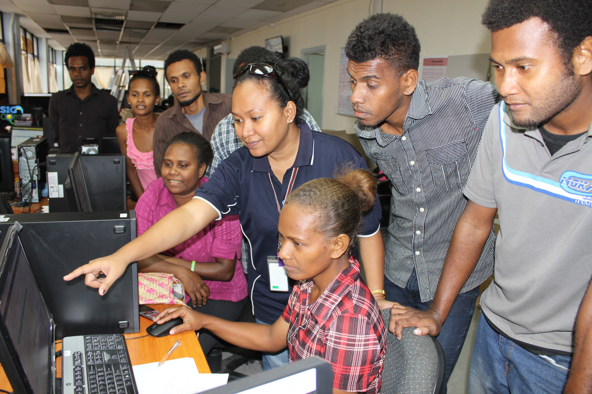 Interns learning in ICT workshop