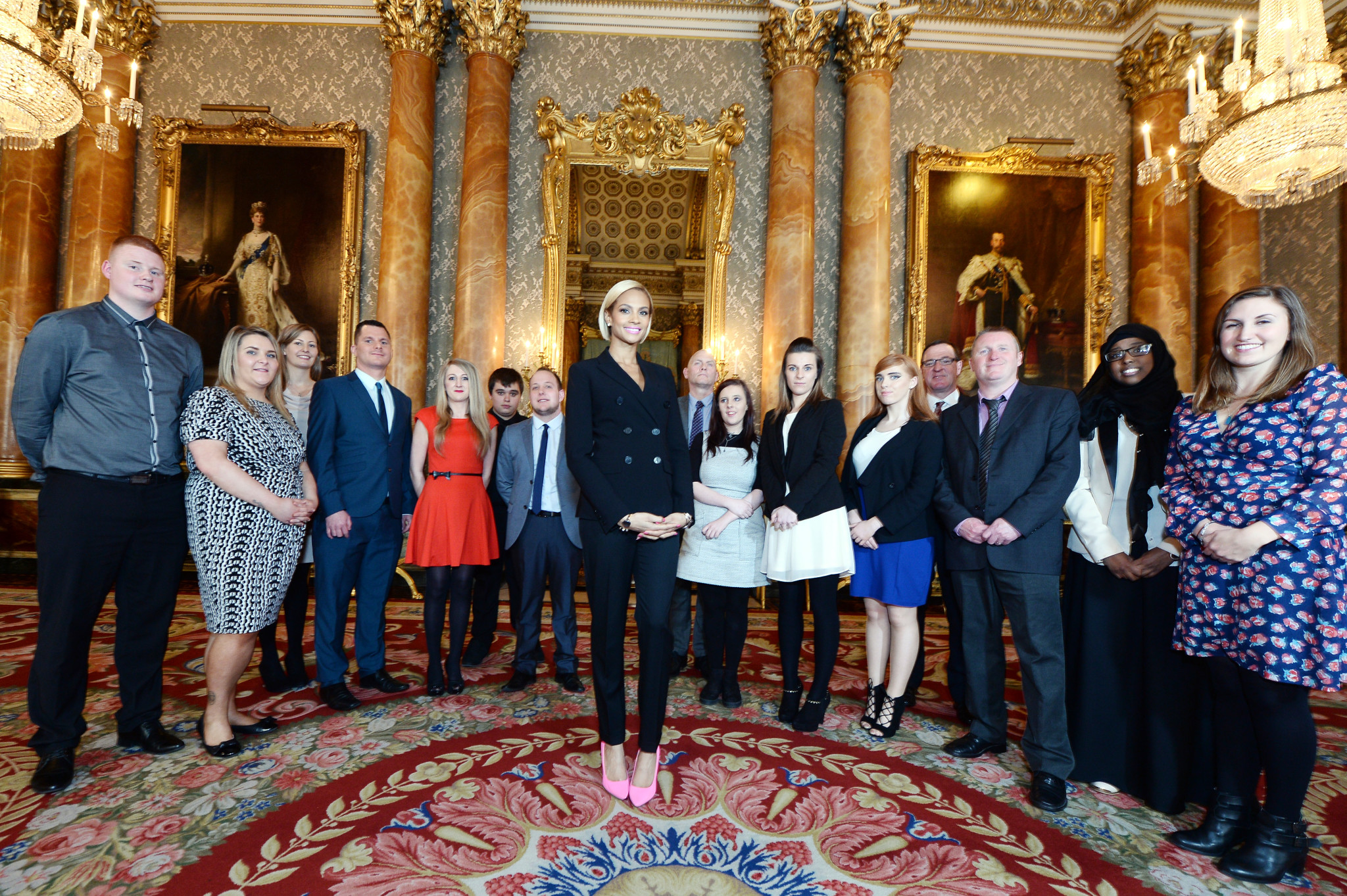 A selection of Queen's Young Leader's Grantees meeting Alesha Dixon at Buckingham Palace. Pictured form left to right: Steven Johnston (YMCA Scotland) Jenny Mitchell (YMCA Scotland) Louise Belsom (UpRising) Spencer Lewis (NYAS) Ami-lee Price (NYAS) Leon Sweeney (Cwmbran) Josh Horgan (Cwmbran) Alesha Dixon Peter McGregor (Who Cares Scotland) Nicole Blain (Who Cares Scotland) Blair Anderson (Include Youth) Courtney McGhee (Northern Ireland Youth Forum) Joe Hamill (Northern Ireland Youth Forum) John McComb (Include Youth) Qadar Arif (Media Trust) Jessica Lee (Media Trust)