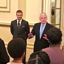 Sir John Major, Sir Lenny Henry and @davidbeckham talk with the #QueensYoungLeaders ahead of their big moment.