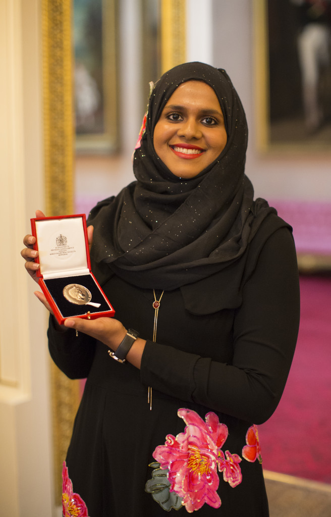 Safaath Ahmed Zahir, Maldives. The 2016 Queen's Young Leaders today recieved their award from her majesty the Queen at Buckingham Palace. Also in attendance were His Royal Highness Prince Harry, Sir John Major and David Beckham.
